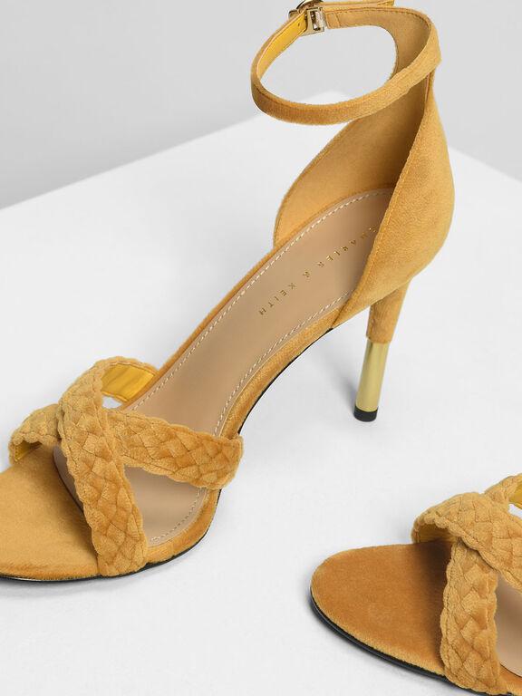 Braided Crossband Heeled Sandals, Mustard