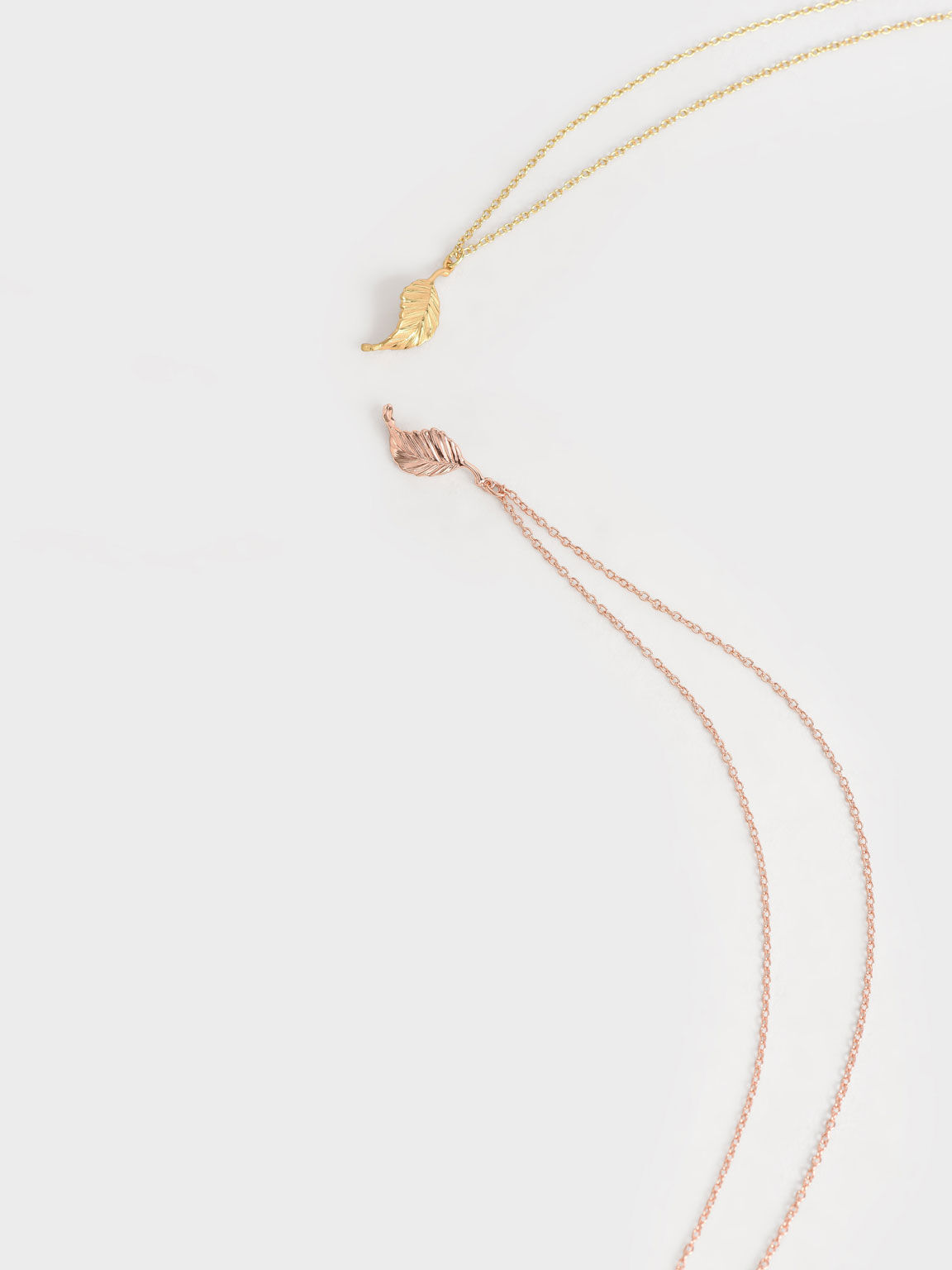 Leaf Pendant Bead Necklace, Rose Gold, hi-res