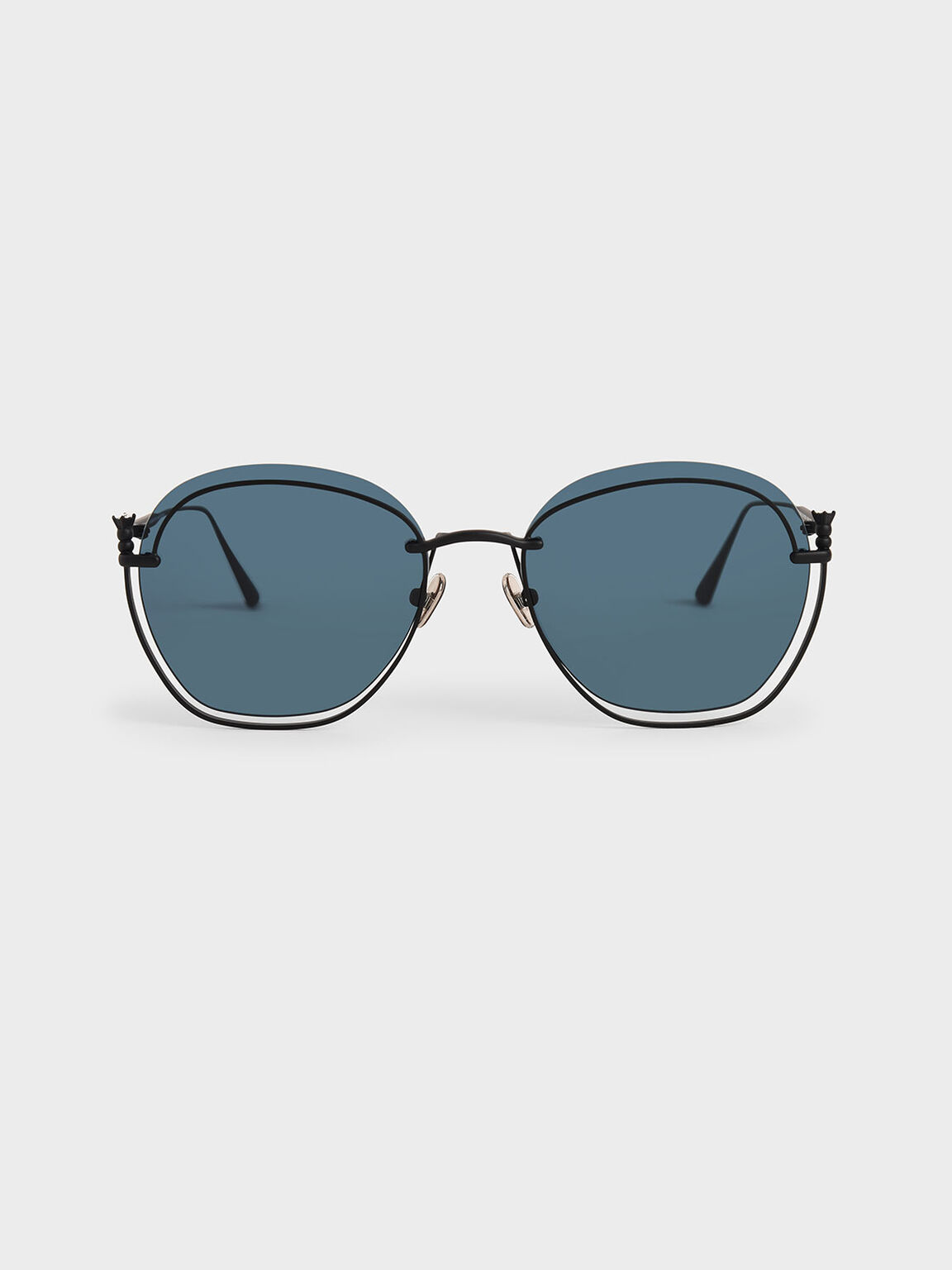 Cut-Out Butterfly Sunglasses, Dark Blue, hi-res