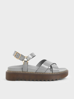 Patent Criss Cross Flatform Sandals, Light Blue, hi-res