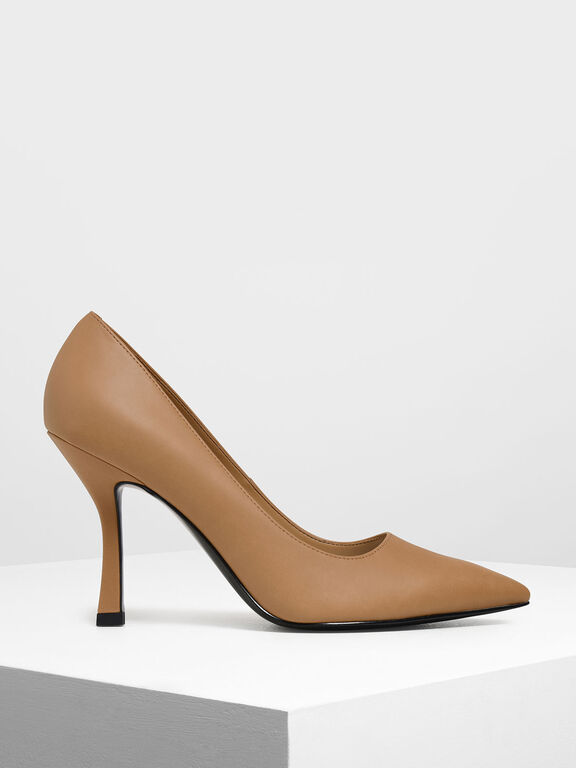 Curved Stiletto Heel Pumps, Sand