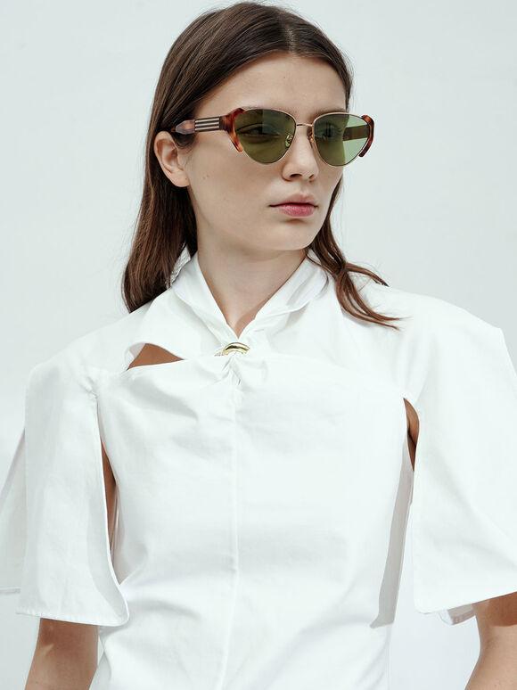 Acetate Striped Tortoiseshell Cat-Eye Sunglasses, T. Shell, hi-res