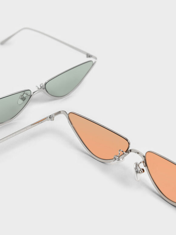 Thin Metal Frame Cat-Eye Sunglasses, Orange, hi-res