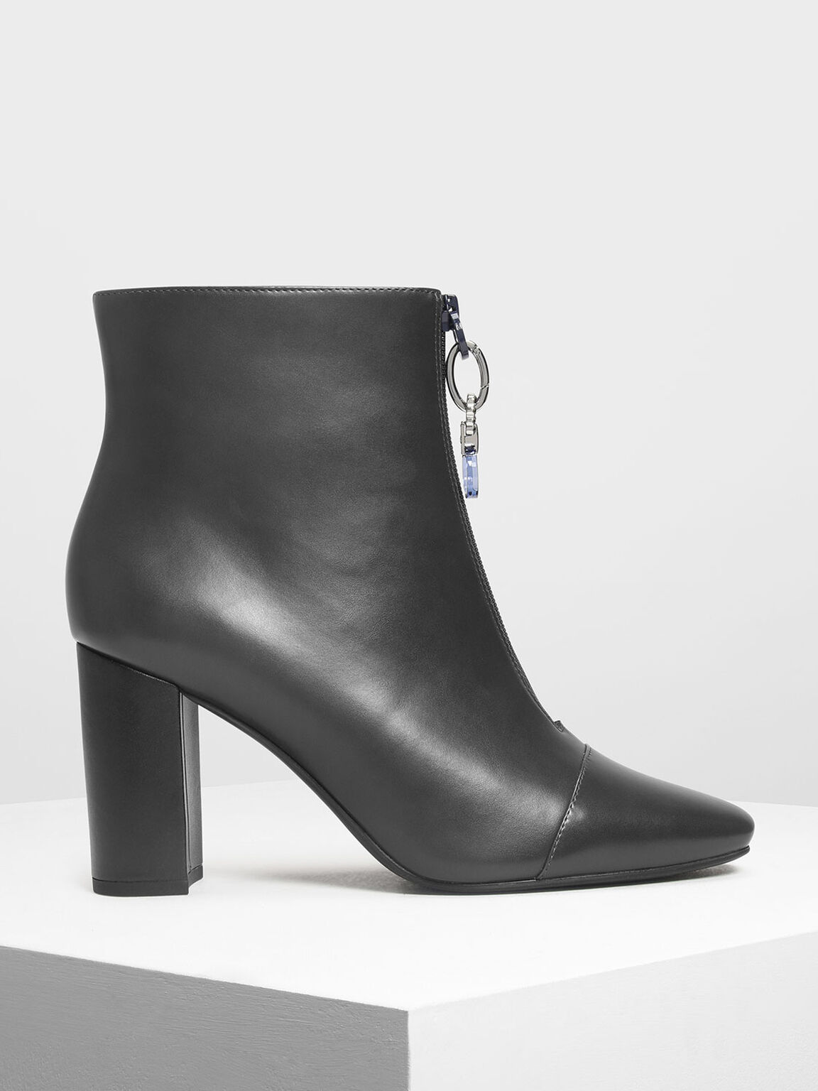 Zipper Calf Boots, Grey, hi-res