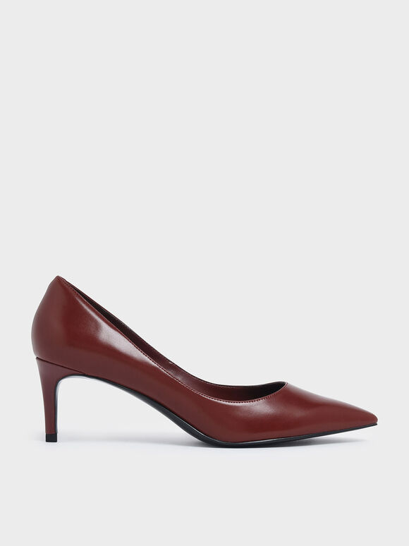 Classic Pointed Toe Pumps, Red, hi-res