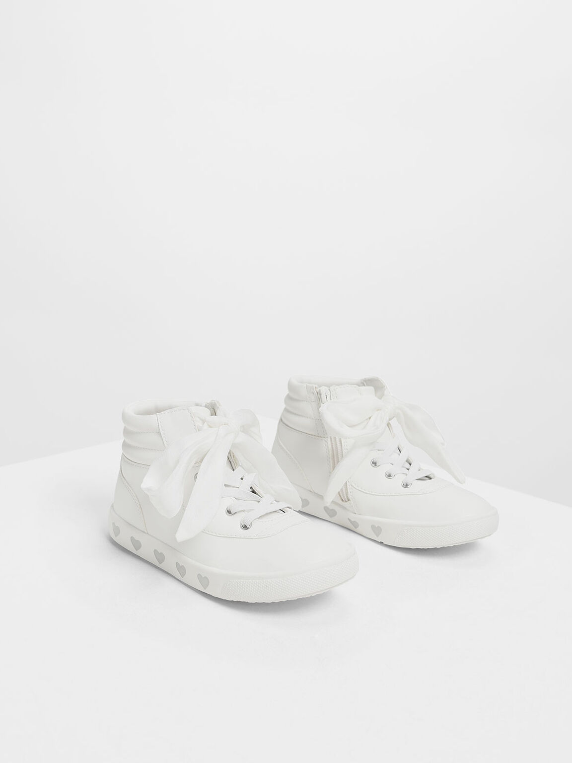 Kids' Heart Print High-Top Sneakers, White, hi-res