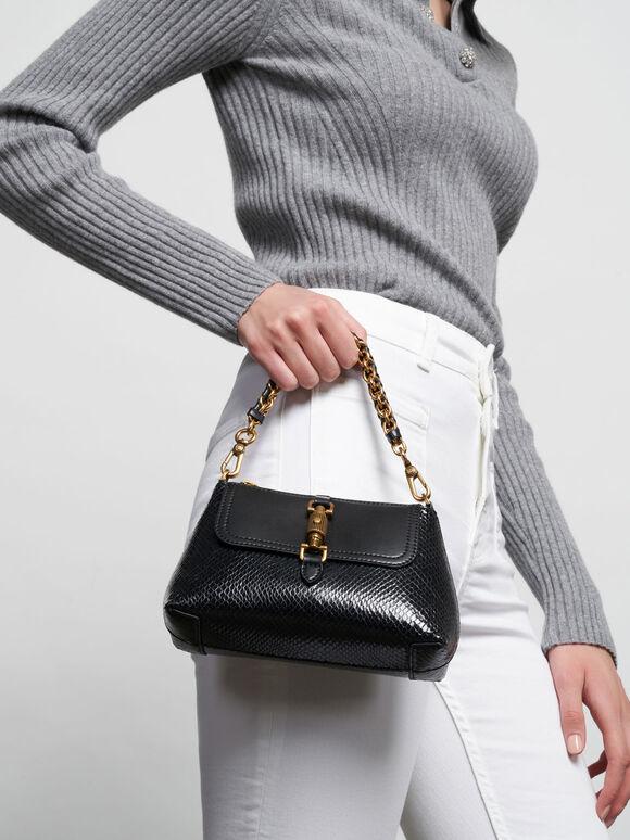 Chain Handle Bag, Black, hi-res