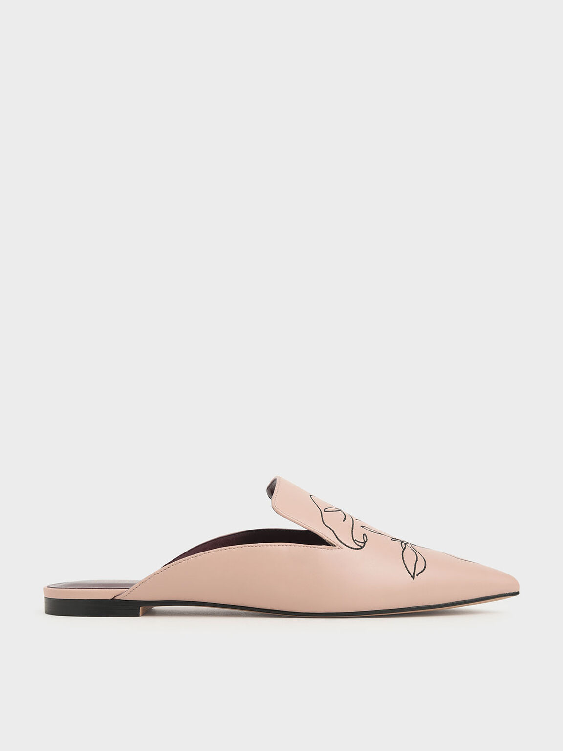 Floral Embroidered Pointed Toe Mules, Nude, hi-res