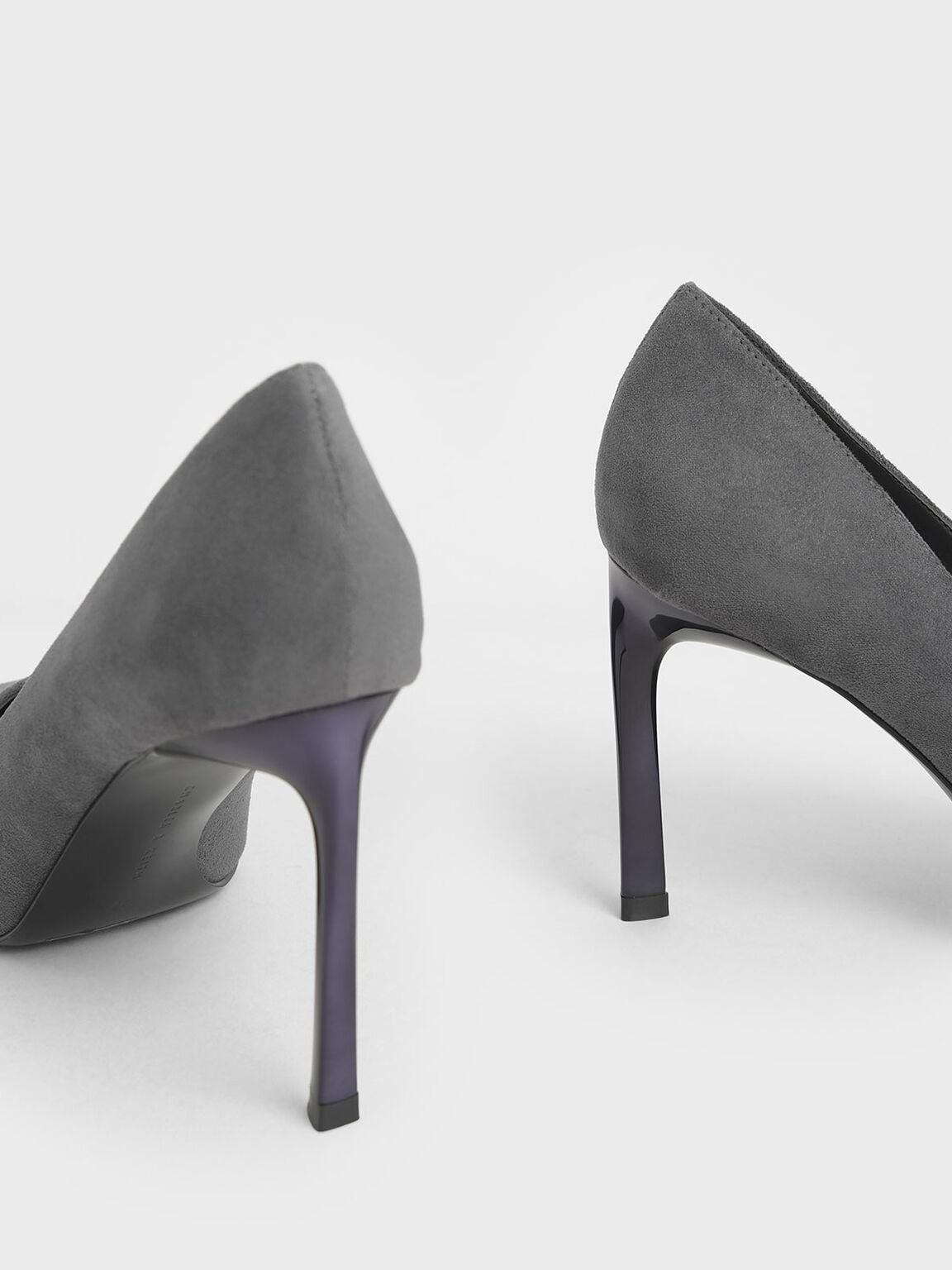 Textured Sculptural Stiletto Pumps, Dark Grey, hi-res