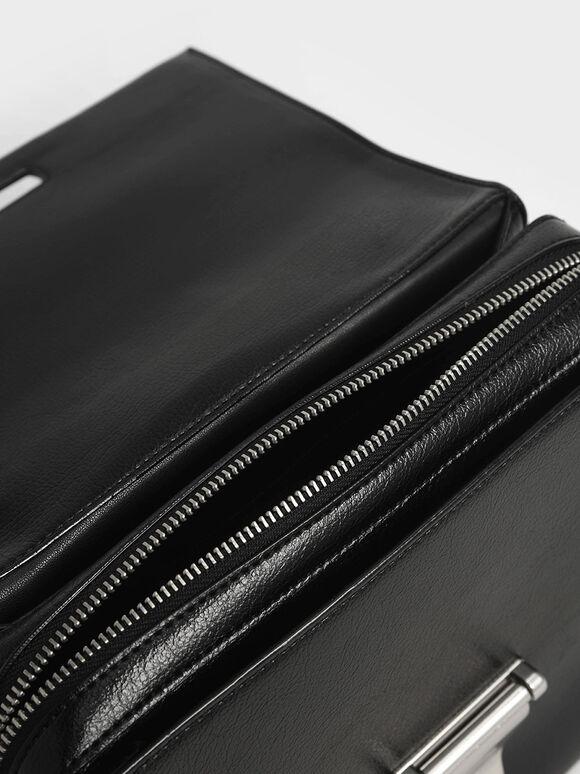 Metal Push-Lock Top Handle Bag, Black, hi-res