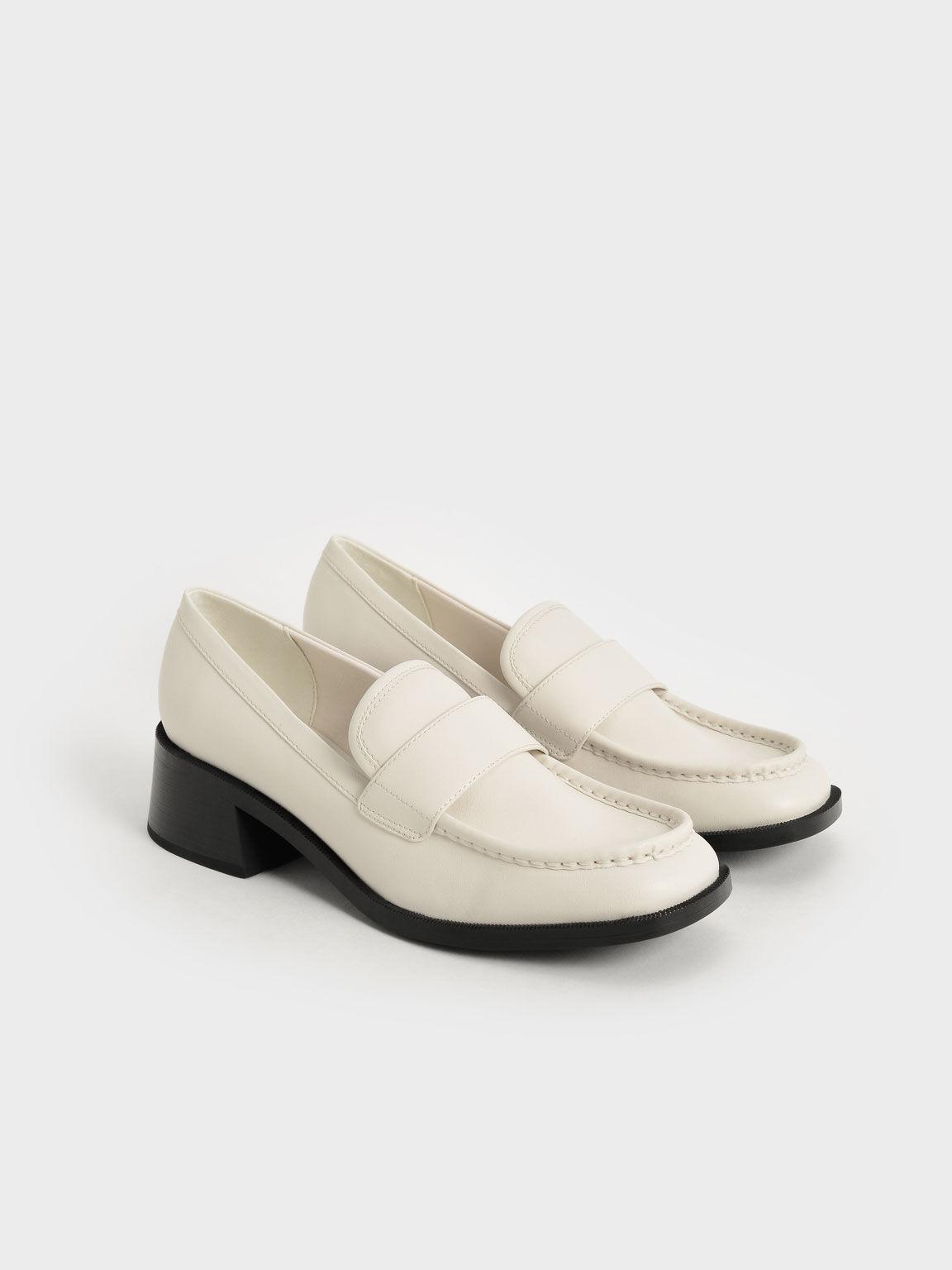 Block Heel Penny Loafers, Chalk, hi-res