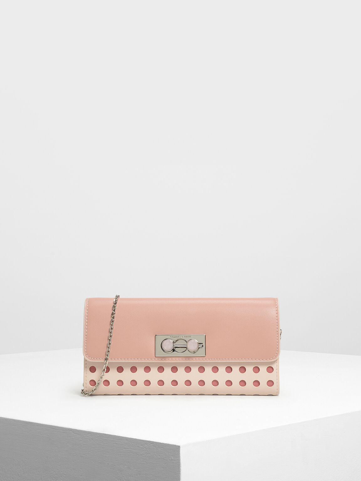 寶石壓扣長夾, 淺粉色, hi-res