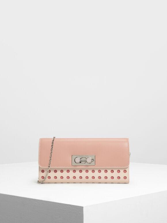 Stone Push Lock Long Wallet, Light Pink, hi-res