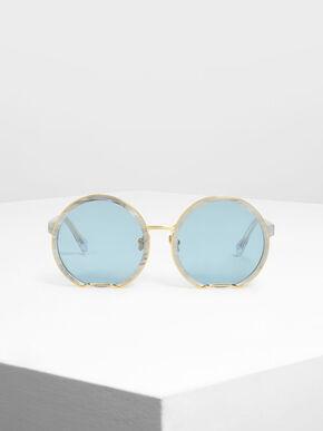 Cut Off Frame Round Sunglasses, White