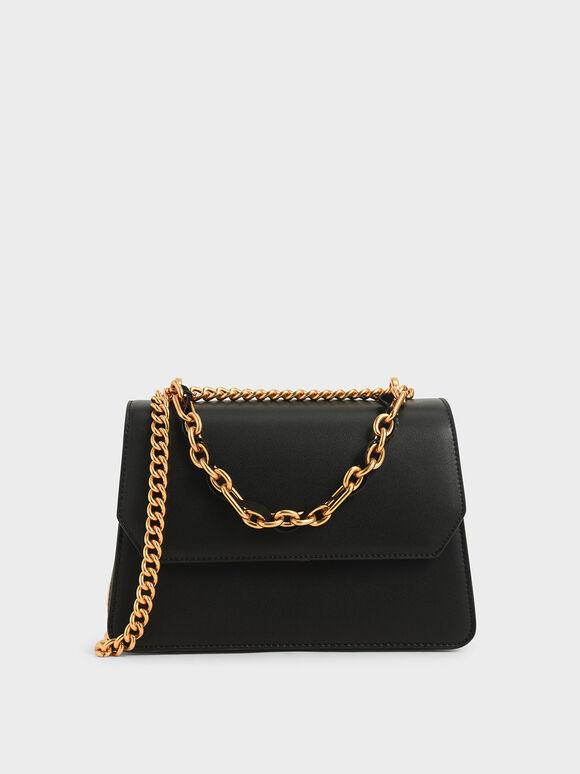 Swarovski Crystal Embellished Shoulder Bag, Black, hi-res