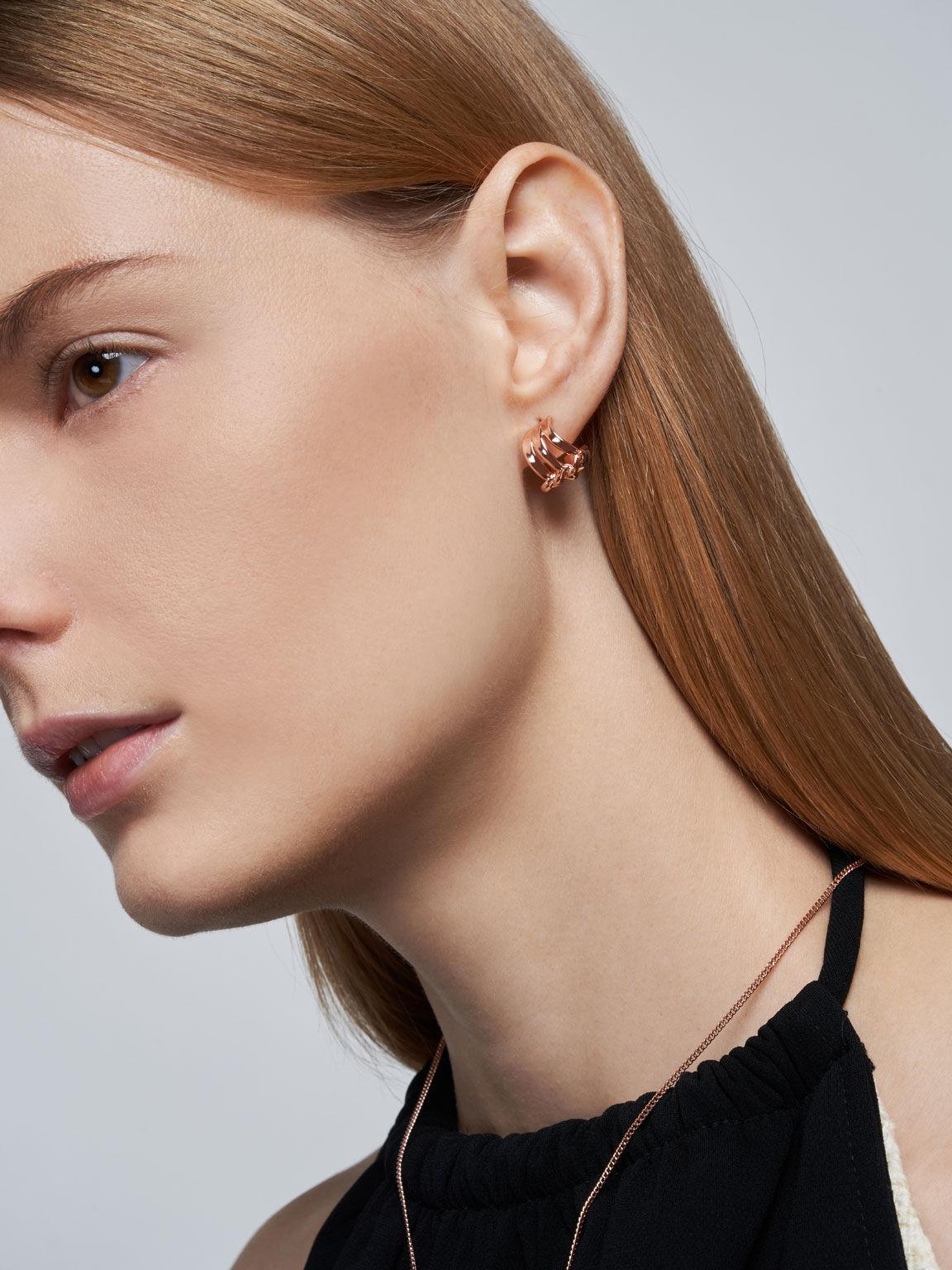 Sculptural Stud Earrings, Rose Gold, hi-res