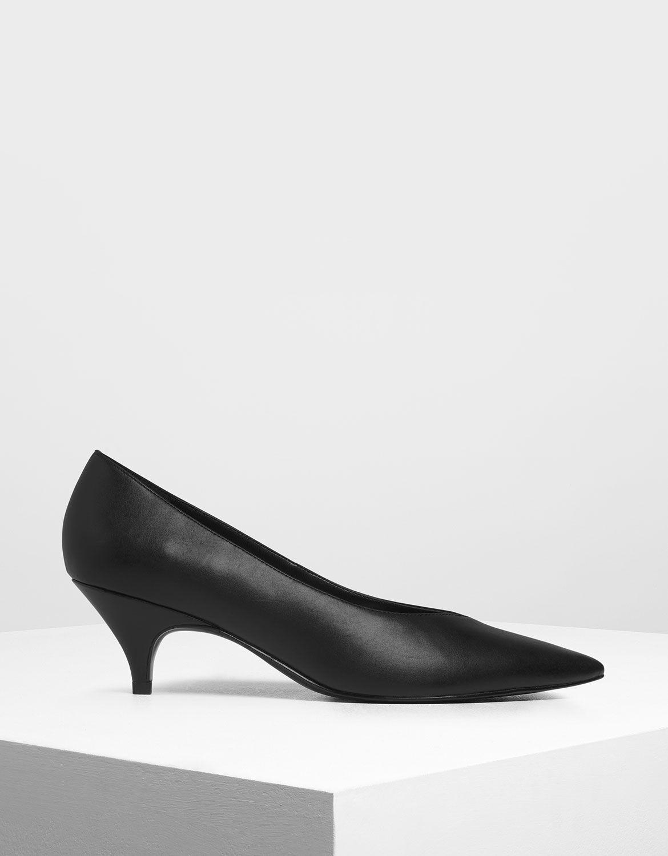 Black Pointed Toe Kitten Heel Pumps