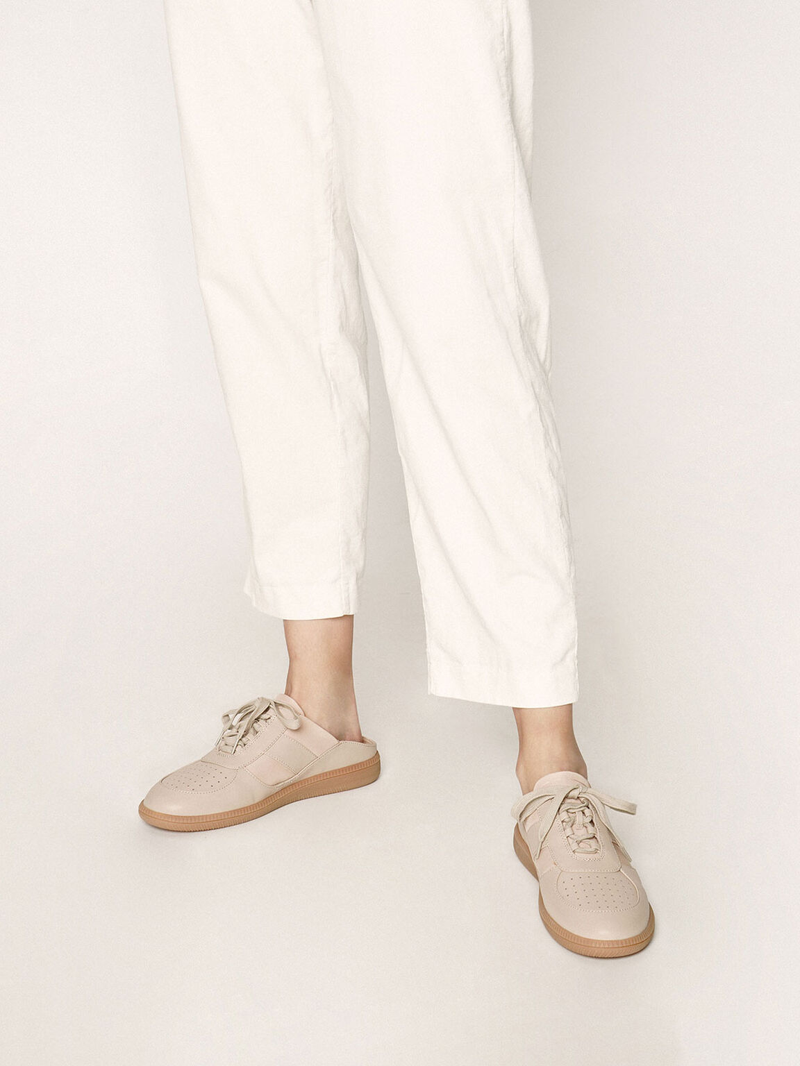 Lace Up Sneaker Mules, Nude, hi-res