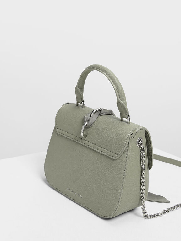 Braided Front Flap Bag, Sage Green