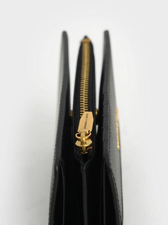 Snap Button Small Wallet, Black, hi-res