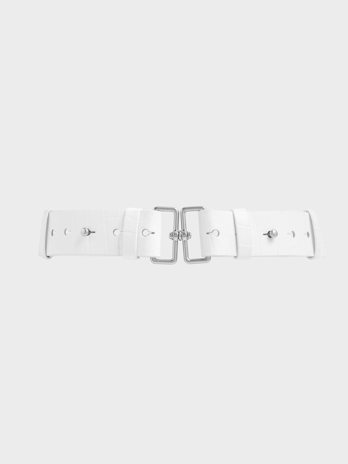 鱷魚紋雙扣環皮帶, 白色, hi-res