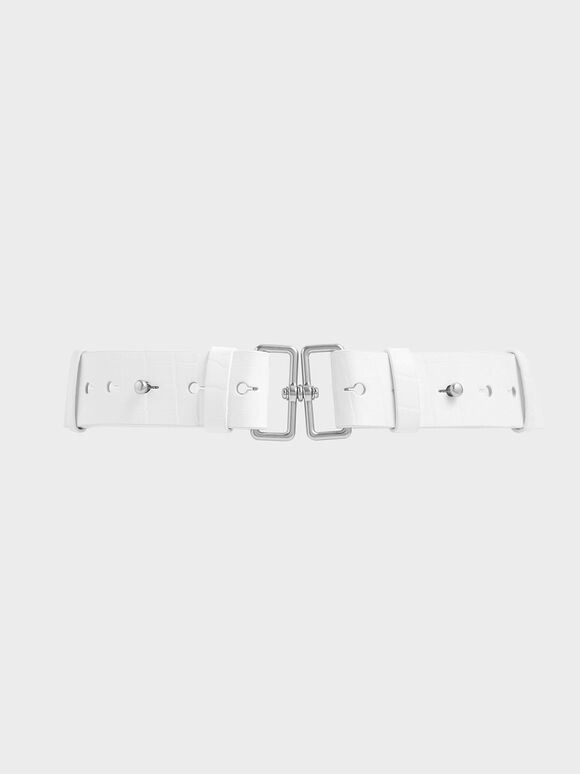 Croc-Effect Double Buckle Waist Belt, White, hi-res
