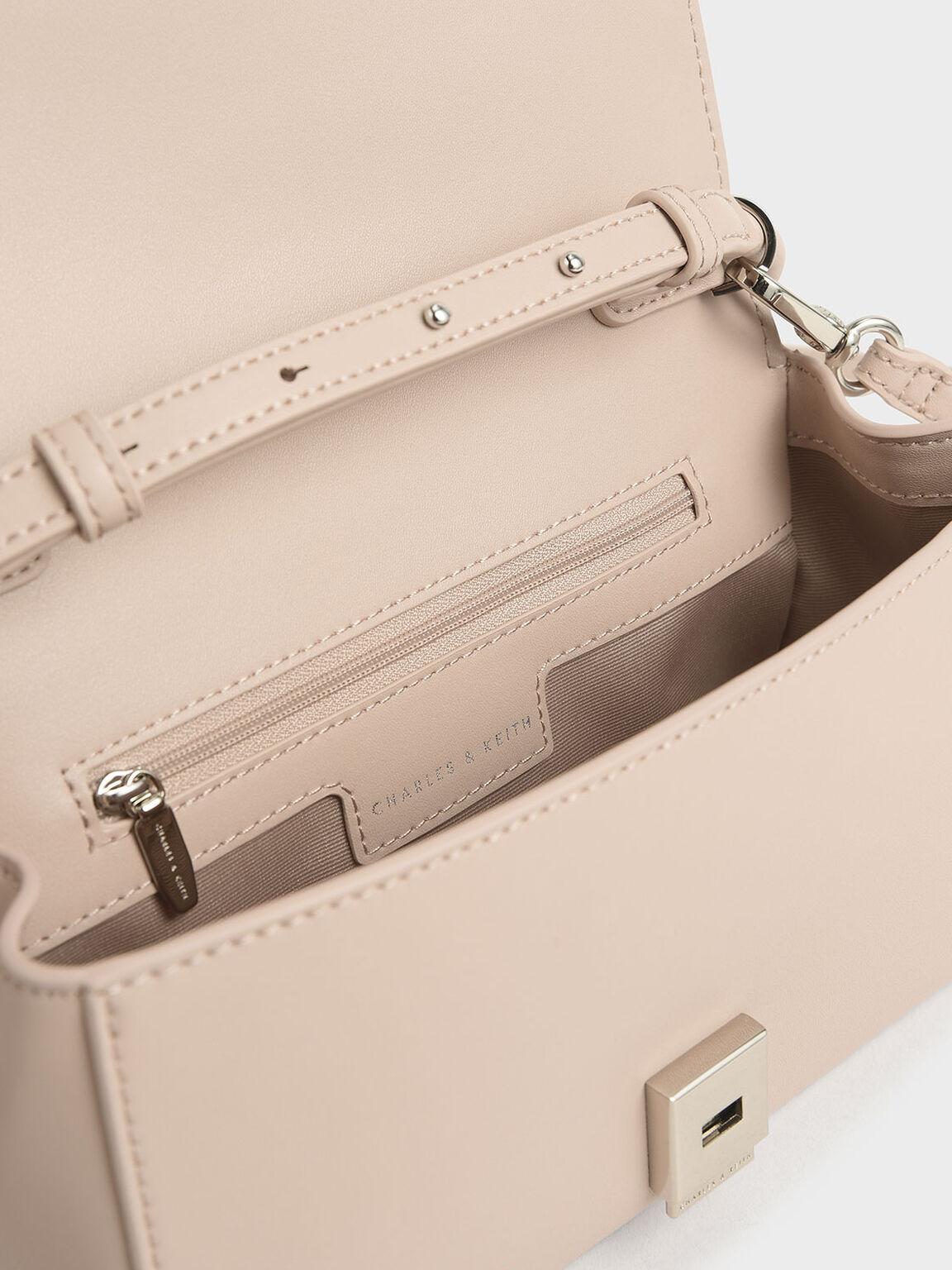 Chunky Chain Handle Mini Shoulder Bag, Nude, hi-res