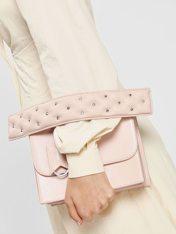 Embellished Wide Mini Strap, Pink, hi-res