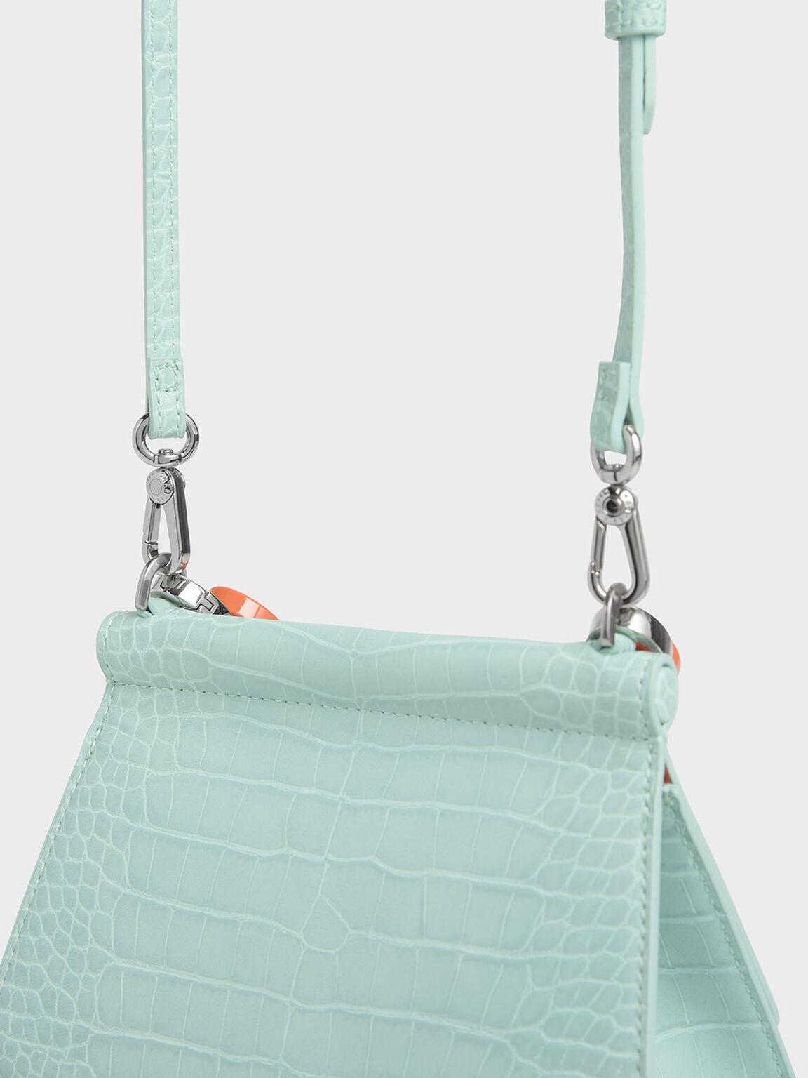 Croc-Effect Acrylic Handle Sculptural Bag, Mint Blue, hi-res