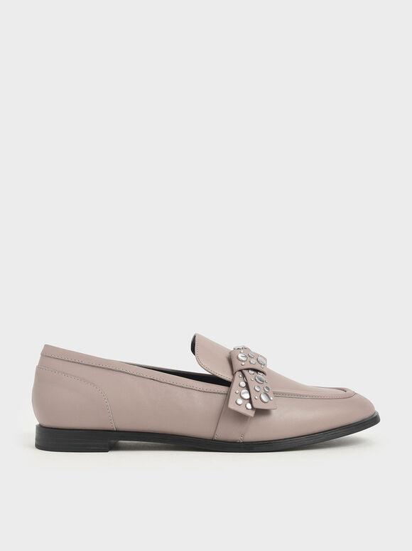 Leather Embellished Strap Loafers, Grey, hi-res