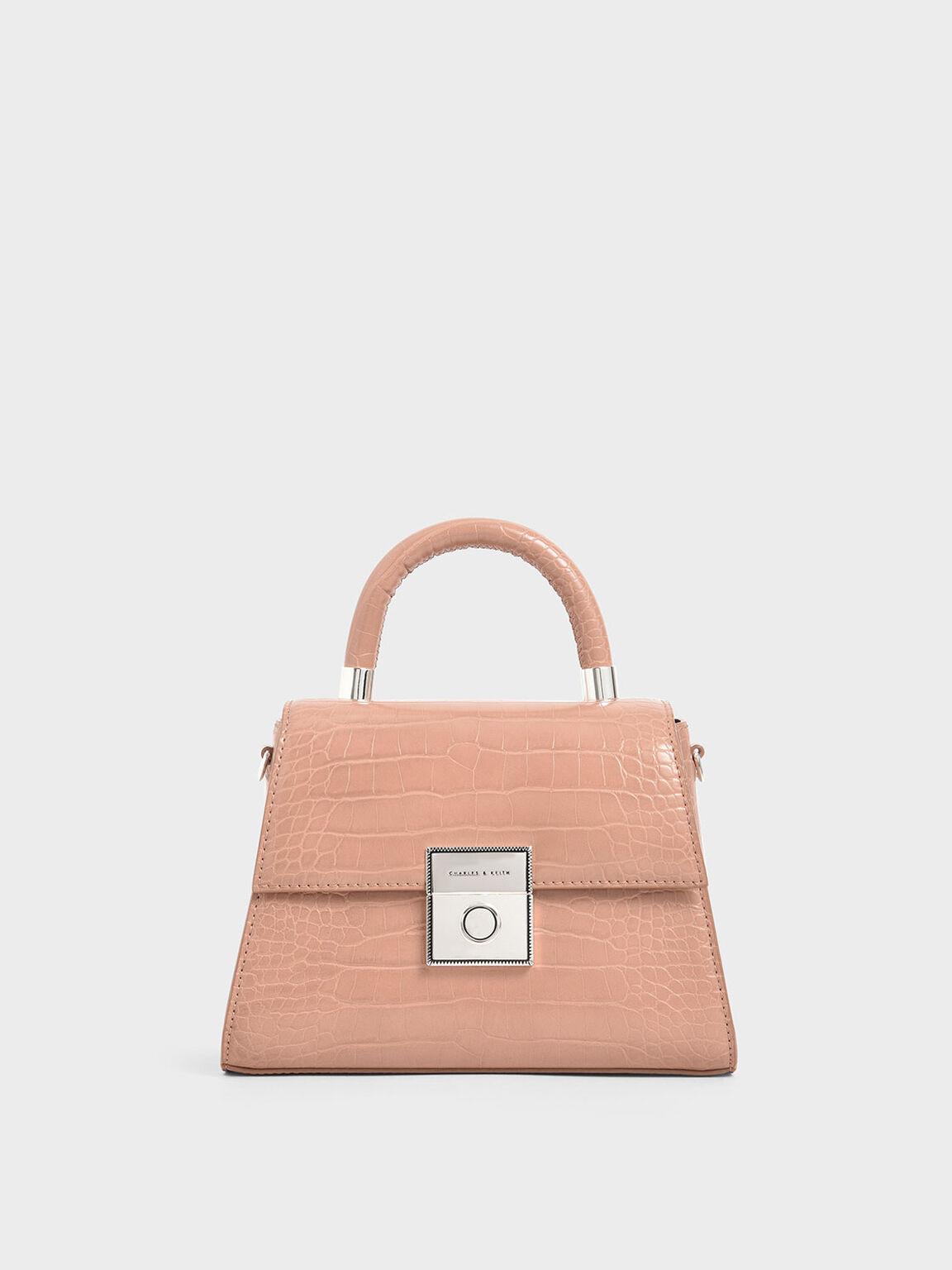 Croc-Effect Structured Bag, Blush, hi-res
