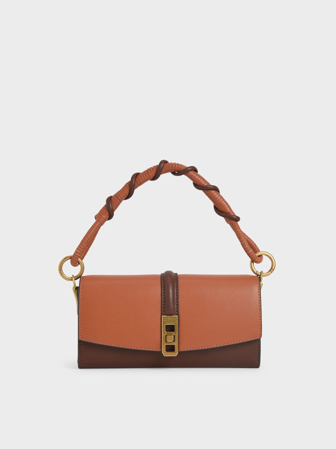 Coiled Top Handle Wallet, Cognac, hi-res