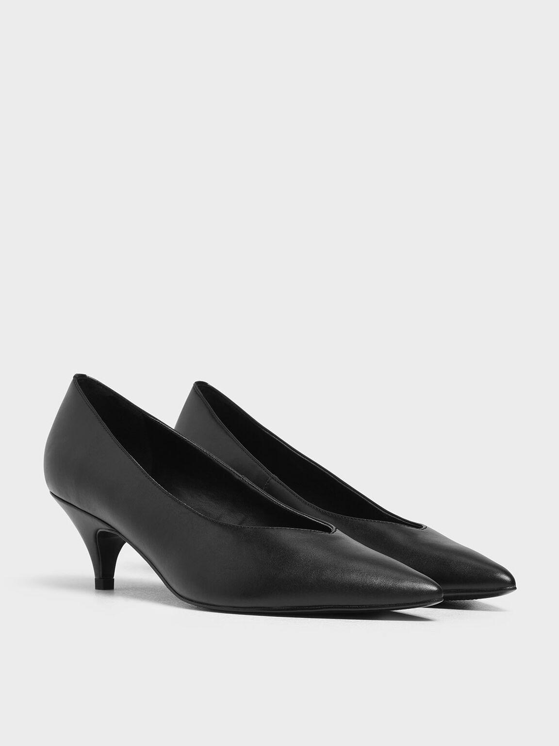 Pointed Toe Kitten Heel Pumps, Black, hi-res