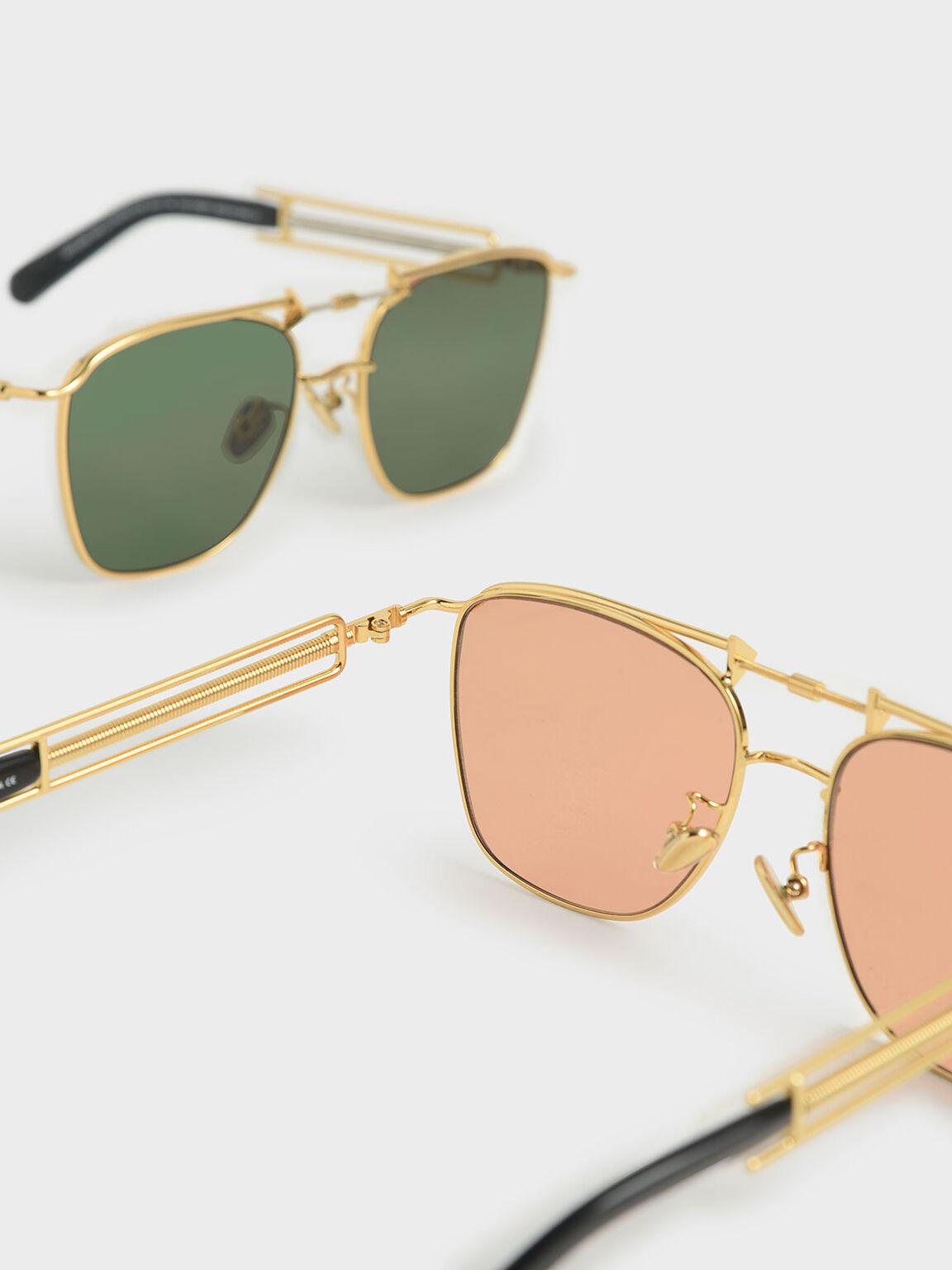 Square Double Bridge Sunglasses, Orange, hi-res