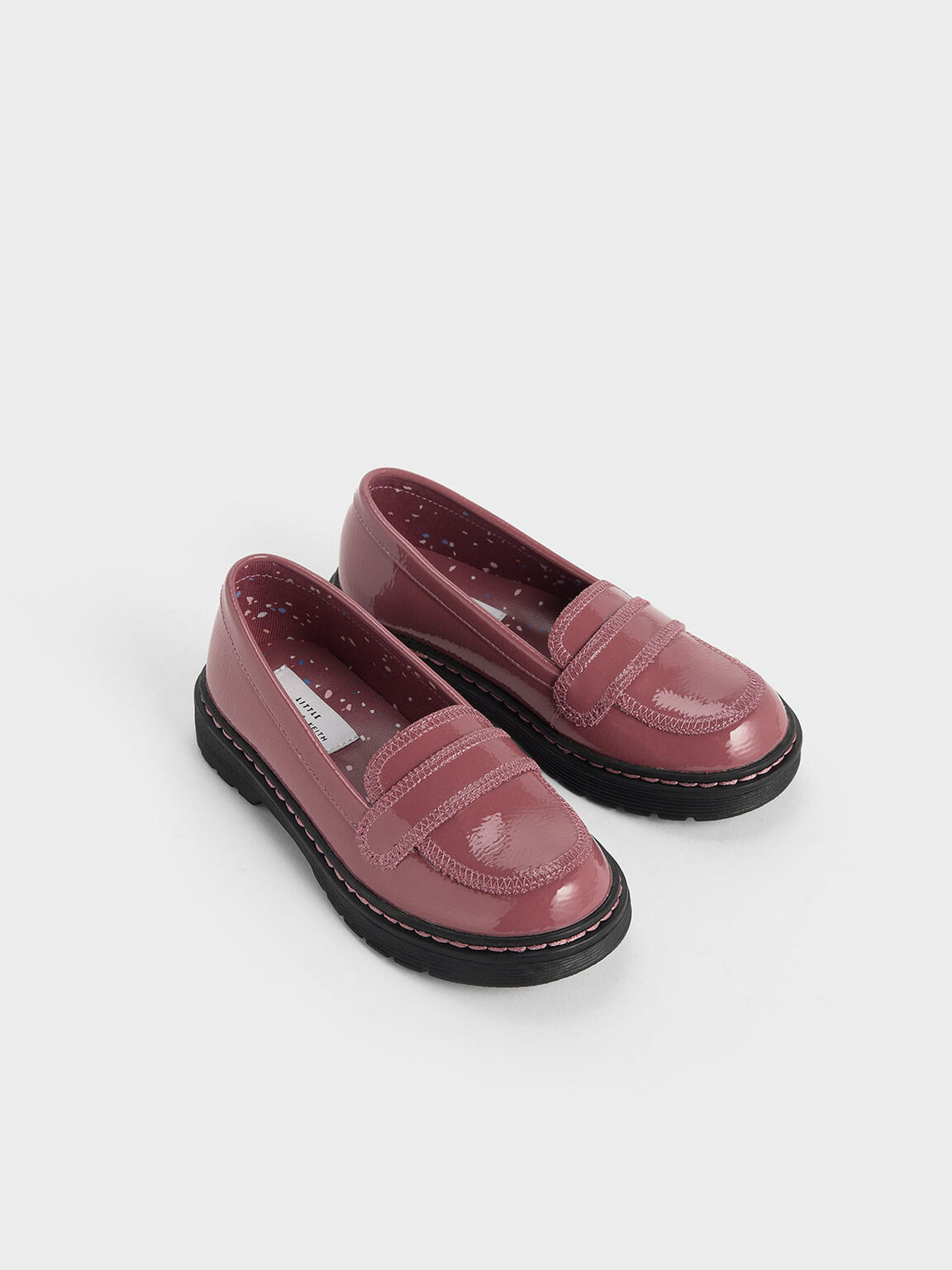 Girls' Overlock Stitch Patent Loafers, Pink, hi-res