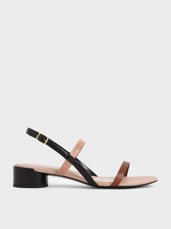 Croc-Effect Strappy Heeled Sandals, Multi, hi-res