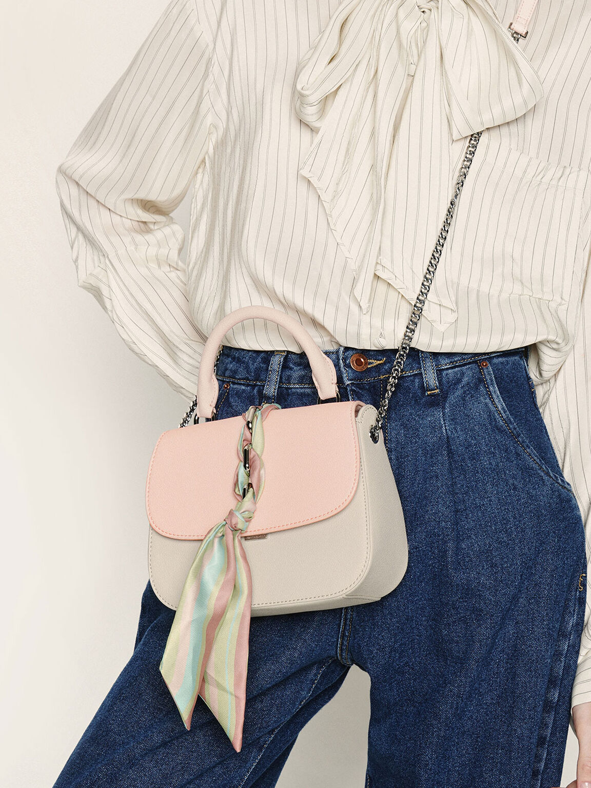 Braided Front Flap Bag, Light Pink, hi-res