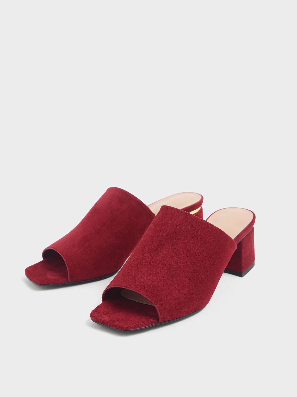 Block Heel Textured Slide Sandals, Red, hi-res