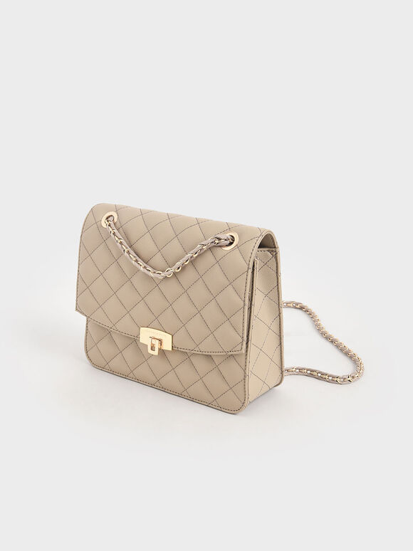 Quilted Chain Strap Clutch, Sand, hi-res