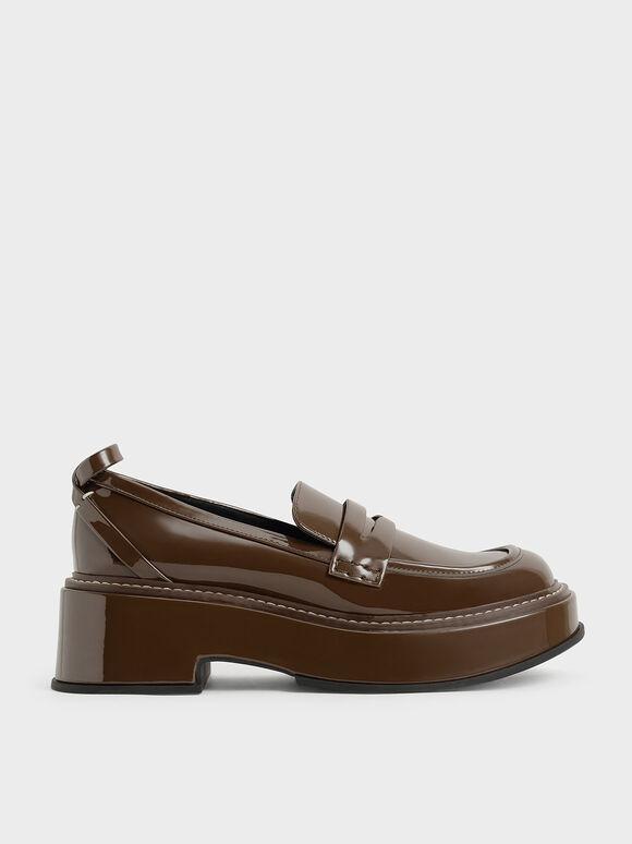 Frankie 厚底樂福鞋, 深咖啡, hi-res