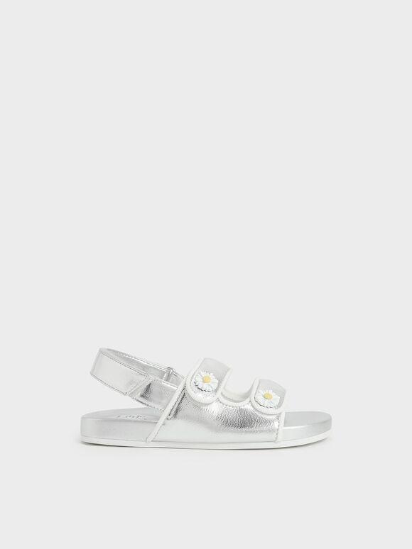 兒童花朵雙帶涼鞋, 銀色, hi-res