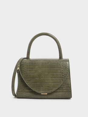 Croc-Effect Structured Top Handle Bag, Olive
