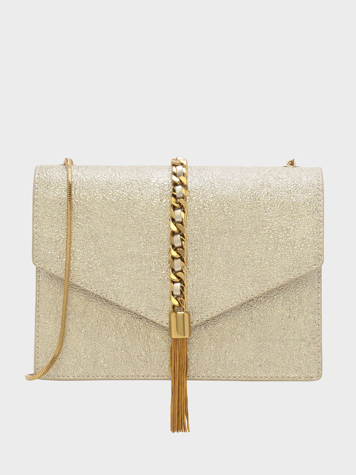 Tassel-Detail Envelope Bag, Gold, hi-res