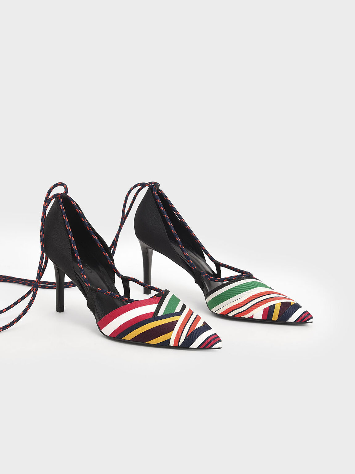 Multicoloured Grosgrain & Rope Pumps, Multi, hi-res