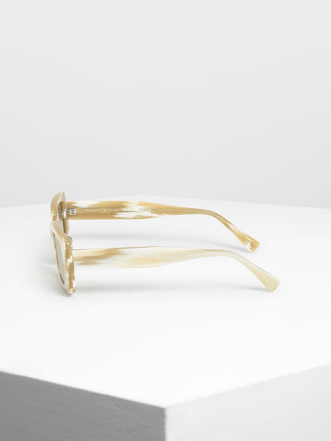 Thick Frame Rectangle Sunglasses, Cream, hi-res