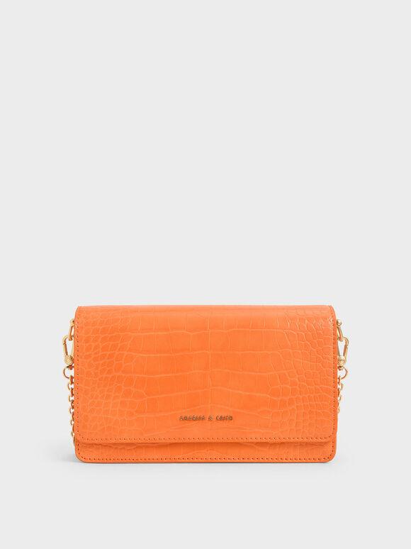 Croc-Effect Clutch, Orange, hi-res