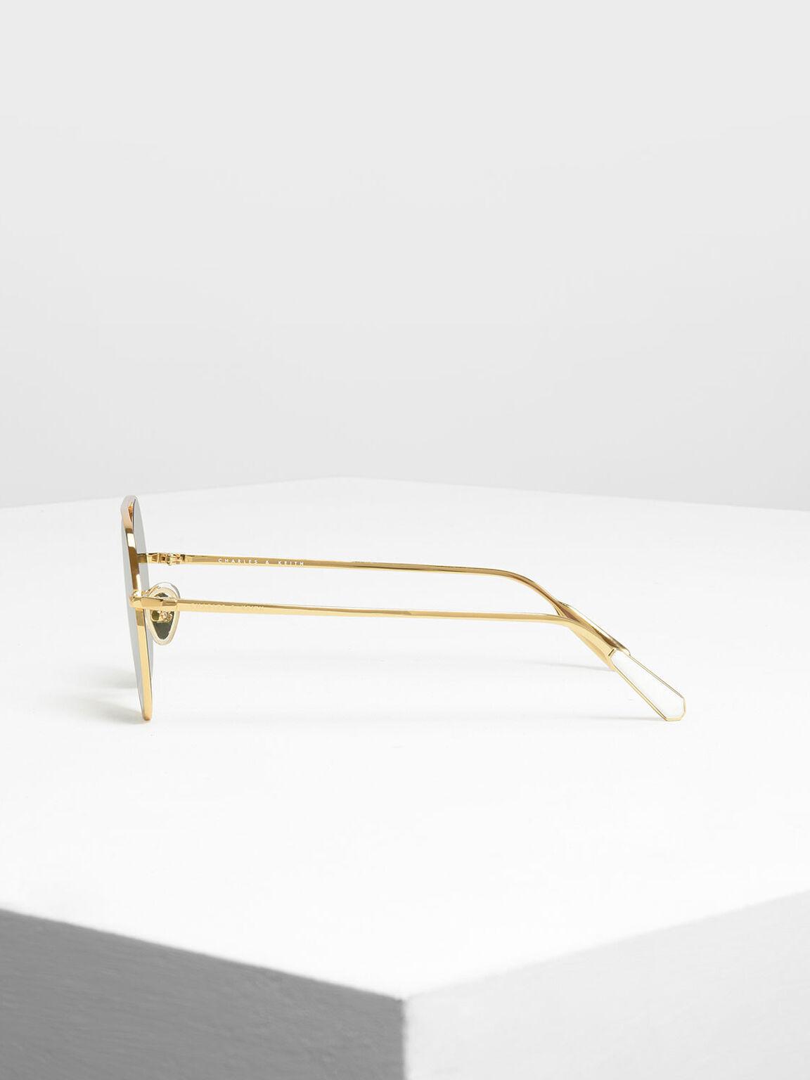 Semi-Precious Stone Round Sunglasses, Gold, hi-res