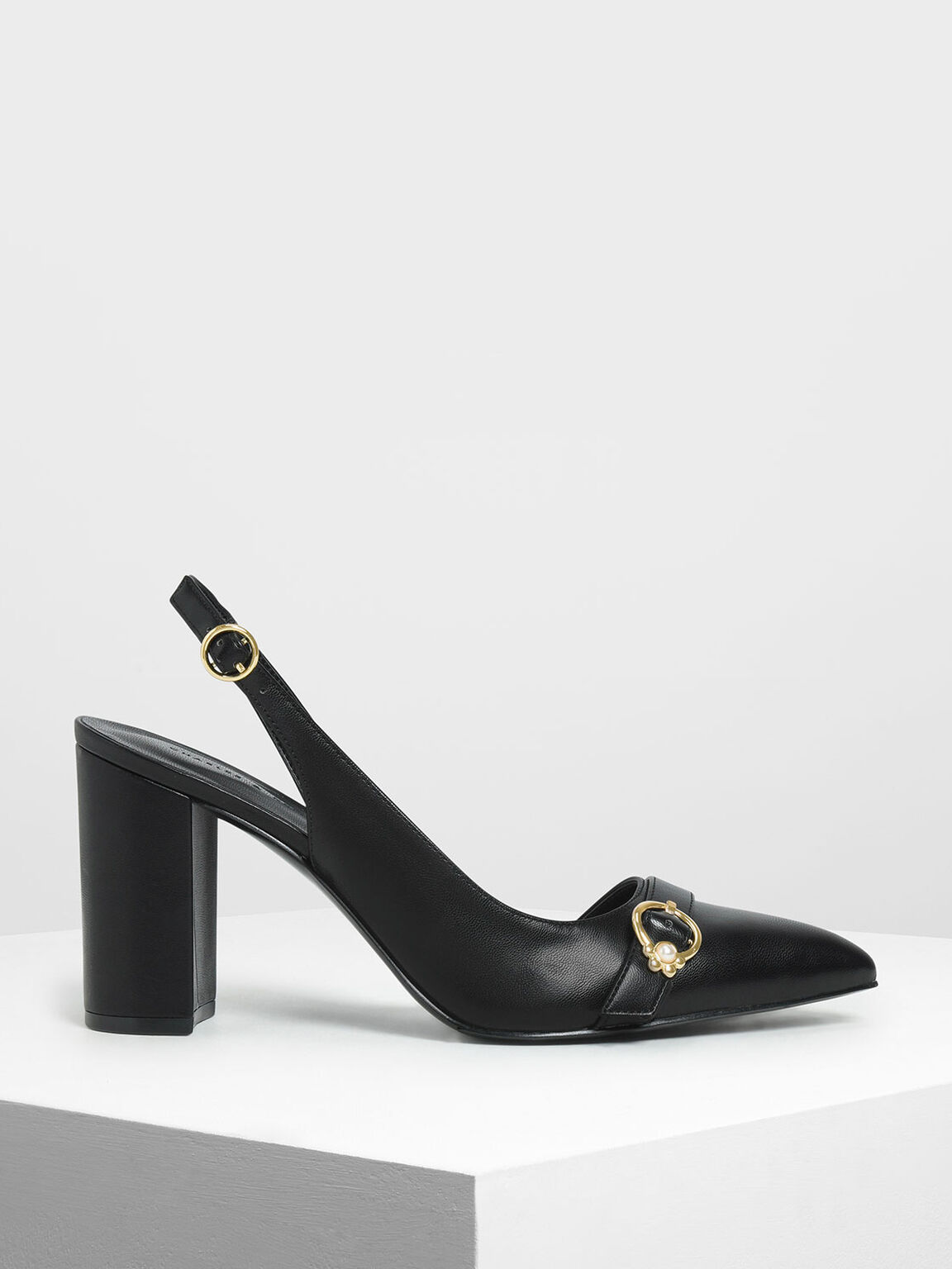 Embellished Asymmetrical Heels, Black, hi-res