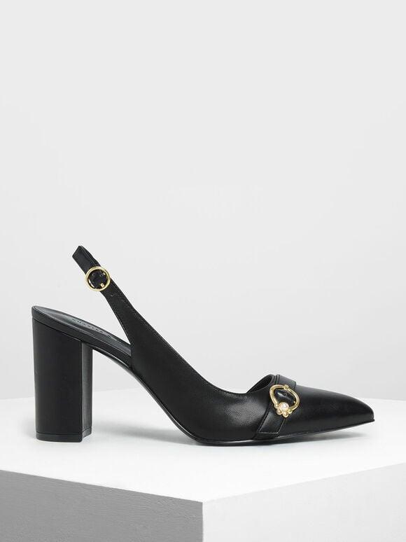 Embellished Asymmetrical Heels, Black, hi-res