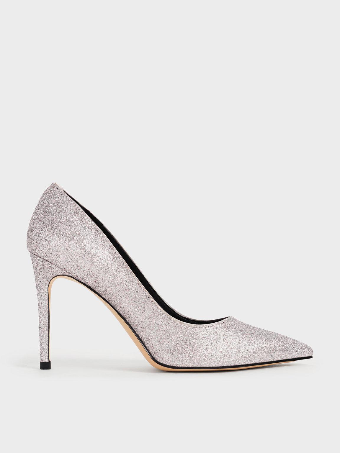 Glitter Stiletto Pumps, Silver, hi-res
